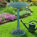 Outdoor Garden Green Pedestal Bird Bath Feeder