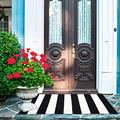 Black White Striped Rug, Outdoor Rugs Striped Door Mat, Cotton Door Mat, Black & White Small Rug, Woven Porch Rug 2.2'x3.6'
