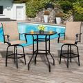 Patio Swivel Bistro Set, 3 Piece Outdoor Bar Table and Stools Set, 2 Patio Swivel Bar Chairs with 1 High Glass Top Table, All Weather Metal Frame Furniture Set for Garden Yard Balcony Pool Cafe, B01