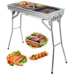 """Outdoor Charcoal Grill, SEGMART 28"""" Small Portable Charcoal Grill w/ Handle, Portable BBQ Grill Folding Charcoal Barbecue Grill, Stainless Charcoal Grills Outdoor Cooking for Steak Meat, Silver, H389"""