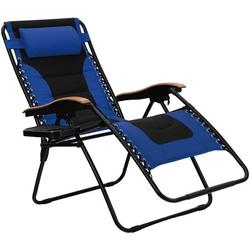 PHI VILLA Oversize XL Padded Zero Gravity Lounge Chair Wider Armrest Adjustable Recliner with Cup Holder, Support 350 LBS, Blue