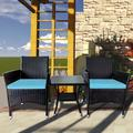 3 Pcs Outdoor Patio Chair, Bistro Furniture Set, Outdoor Durable Rattan Conversation Set, Modern Bistro Table Set with Coffee Table & Waterproof Cushion, Patio Bistro Set for Garden Balcony Deck, T184