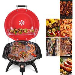 Electric BBQ Grill 15-Serving Indoor/Outdoor Electric Portable Grill for Indoor & Outdoor Use, Double Layer Design, Portable Removable Stand Grill, 1600W