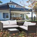 4Piece Outdoor Furniture Set, BTMWAY Rattan Wicker Outdoor Patio Conversation Bistro Set, Garden Sofa Deck Furniture Sets for Patio Porch Lawn Gazebo, with Storage Box&Side Table&Cushions, Gray, A803