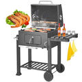 """Charcoal BBQ Grill Outdoor Grill, SEGMART 22.8"""" L x 17"""" H Portable BBQ Grill Charcoal with Smoker, BBQ Grill with Side Burner & Thermometer, Small Grill Outdoor Cooking for Steak Ham Burger, Grey, H64"""