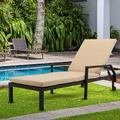 Patio Chaise Lounge, Removeble Reclining Camping Chair with Wheel, Adjustable PE Rattan Sun Recliner Chair with Seat Cushion, Poolside Garden Outdoor Chaise Lounge Chairs, JA1105