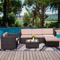Patio Furniture Sets, 4-Piece Outdoor Sectional Sofa Set with Loveseat and Lounge Sofa, Armchair, Coffee Table, All-Weather Wicker Furniture Conversation Set for Backyard Garden, Q17653