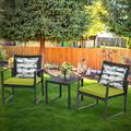 Outdoor 3-Piece Meeting Bistro set Black Wicker Furniture-Two Chairs with Glass Coffee Table Green