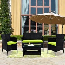 4-Piece Patio Furniture Sets, Outdoor Wicker Furniture with Two Single Sofa, One Loveseat, Tempered Glass Table, Outdoor Garden Cushioned Seat PE Rattan Sofa Set, Bistro Table Set for Poolside, Q8576