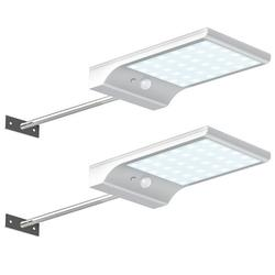 AMGRA 36 LED Solar Lights Dim to Bright Motion Sensor Outdoor Wall Light Security Light Night for Gutter Patio Garden Path with 3 Modes Waterproof Powered Security Light Wall Gutter Ligh, Pack of 2