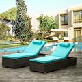Outdoor PE Wicker Chaise Lounge , 2 Piece Garden Adjustable Chaise Lounge, Patio Rattan Reclining Chair Furniture Set, Beach Pool Adjustable Backrest Recliners (Blue Cushions)