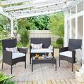 4PCS Outdoor Rattan Furniture Set, BTMWAY All-weather PE Wicker Outdoor Patio Conversation Bistro Lounge Sofa Chairs Set, Front Porch Rattan Chairs for Patio, w/Side Table Loveseat Armchairs, A3141