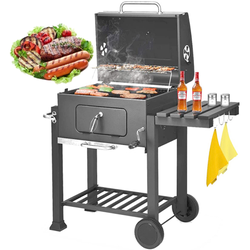 """Charcoal Grill, SEGMART BBQ Grill Charcoal with Smoker, 22.8"""" L x 17"""" H Portable BBQ Grill with Side Burner, Small Outdoor Charcoal BBQ Grill with Wheels/Thermometer, Grill for Camp Picnic, Grey,H1207"""