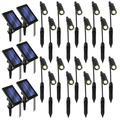 Home Zone Security Outdoor Black Solar Spotlight w/ Auto-On Sensor & Flexible Neck for Landscape, Yard, Walkway, Garden & Driveway (18 Pack)