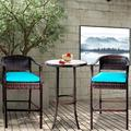 Syngar Patio Bistro Set, 3 Piece Outdoor Bar Table and Stools Set, 2 Patio Cushioned Bar Chairs with 1 High Glass Top Table, All Weather PE Rattan Furniture Set for Garden Yard Balcony Pool Cafe, B13
