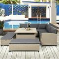Outdoor Deck Furniture, 4 Piece Outdoor Conversation Set with Loveseat Sofa, Lounge Chair, Wicker Chair, Coffee Table, Patio Sectional Sofa Set with Cushion for Backyard Garden Pool, LLL1325