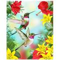 """Hummingbirds Red Flower Hibiscus Yellow Lilies Birds Small Garden Yard Flag 12"""" x 18"""" Twin Sides, Tropical Flower Leaves Birds Decorative Flag Banner for Outdoor Home Decor Party"""