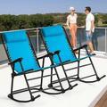Outdoor Patio Headrest Folding Zero Gravity Rocking Chair