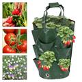 Willstar 4 pcs Strawberry Grow Bag Hanging Strawberry Planter Breathable Planting Growing Bag with Handles Green 3Gallon