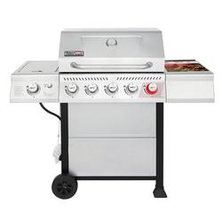 Royal Gourmet GA5401T 5-Burner BBQ Liquid Gas Grill with Sear Burner and Side Burner, Stainless Steel 64,000 BTU Patio Garden Picnic Backyard Barbecue Grill, Silver
