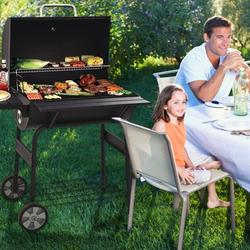 8-in-1 Charcoal BBQ Grills, 30'' Portable Barrel Charcoal Grill Smoker, Outdoor Stainless Steel BBQ Grill Cooking with Temperature Gauge, Metal Grates and 2 wheels for Patio, Porch, Picnic, SS1048