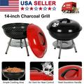 """Portable Charcoal Barbecue BBQ Kettle Grill 14"""" Heavy Stamped Steel Ash Catcher Removable Legs Cooking Grid Outdoor Cooking Picnic Patio Backyard Camping"""