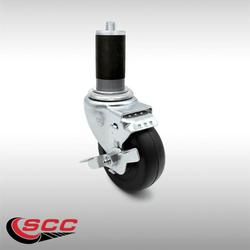 """Stainless Steel Hard Rubber Swivel Expanding Stem Caster w/3"""" x 1.25"""" Black Wheel and 1-3/8"""" Stem & Top Locking Brake - 275 lbs Capacity/Caster - Service Caster Brand"""