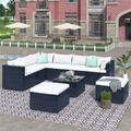 9 Piece Courtyard Sofa,Outdoor Patio Furniture Set,Outdoor Corner Sofa Armless Sofa,PE Wicker Rattan Sofa with Coffee Table & Cushions,Beige