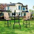 """3 Piece Patio Height Bar Set with Table and Chairs, Ourdoor Bistro Set, 31.5"""" Bistro Dining Table and 2 Swivel Chairs, Patio Furniture Sets Suitable for Yard Backyard Balcony Garden and Poolside, B03"""