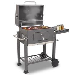 Foeses Charcoal Grill,BBQ Outdoor Picnic,Outdoor Barbecue Charcoal Oven Square Oven with 4 Hooks Plastic Wheels