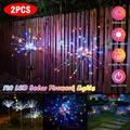 1/2 Pack Solar Garden DIY Decorative Lights Outdoor Solar Firework Light, Colorful 120 LED Solar Powered String Light with 8 Lighting Modes for Backyard, Patio, Pathway, Walkway, Christmas Party Decor
