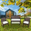 4-Piece Patio Furniture Sets, Outdoor Wicker Furniture with Two Single Sofa, One Loveseat, Tempered Glass Table, Outdoor Garden Cushioned Seat PE Rattan Sofa Set, Bistro Table Set for Poolside, Q16401