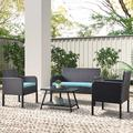 ROBOT-GXG Rattan Patio Furniture Sofa - Rattan Outdoor Furniture - Rattan Wicker Patio Furniture - 4 PCS Outdoor Patio Rattan Wicker Furniture Set Garden Lawn Outdoor Sofa Set with Cushioned Seat