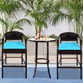 Patio Bar Chairs Set of 3, BTMWAY Outdoor Rattan Bar Stools Set w/Side Table&Cushions, PE Wicker High Bar Stool Patio Conversation Set, Counter Height Backyard Porch Deck Chairs Set, Blue, A2749