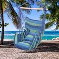 FAFIAR Hammock Hanging Rope Chair Patio Camping Porch Swing Seat Portable Outdoor Indoor Blue Stripe with 2 Pillows