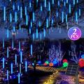 LED Solar Meteor Shower Light, TSV 8 Tubes 144 LEDs Falling Rain Drop Christmas Light, Waterproof Fairy String Light, Cascading Icicle String Lights for Holiday Party Wedding Christmas Tree Decoration