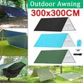 10x10ft 300x300CM 210T Portable Lightweight Outdoor Awning Camping Tent Tarp Shelter Hammock Cover Waterproof Rain Tarp Shelter Sunshade with Bag