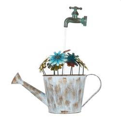 Tooarts Outdoor Iron Fountain Flower Pot Fountain Water Pump Cascading Water Fountain Decorative Stopcock Garden Decoration(US plug)