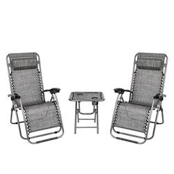 Zero Gravity Chairs and Table with 2 Cup Holder Set, 3 Pieces Adjustable Folding Lounge Recliners with Head Rest Pillow, Lounge Chair Outdoor for Garden Yard Beach Pool, Support 350lbs , Q1554