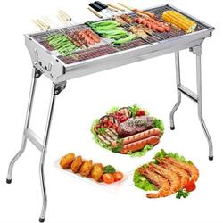"""BBQ Grill, SEGMART Charcoal Grill Barbecue Portable BBQ Grill, Foldable Grill with Mesh/Air Vent/Handle, Small Charcoal Grill for Outdoor Cooking, Stainless Steel, 27"""" L x 13"""" W x 27"""" H, Silver, H2140"""