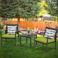 Outdoor 3-Piece Conversation Black Wicker Furniture-Two Chairs with Glass Coffee Table Green