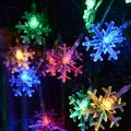 YLHHOME Snowflake LED Christmas Lights String Lights 10ft 20 LED 20ft 40 LED Fairy Lights Battery Operated Indoor Outdoor Hanging Decor for Home Party Xmas Tree