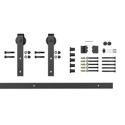 Architectural Products by Outwater 6.5 Ft Barn Door Espresso Solid Steel Sliding Rolling Barn Door Hardware Kit for Single Wood Doors with Routed Floor Guide