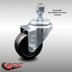 """Stainless Steel Hard Rubber Swivel Threaded Stem Caster w/3.5"""" x 1.25"""" Black Wheel and 12MM Metric Stem - 285 lbs Capacity/Caster - Service Caster Brand"""