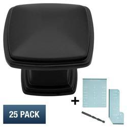 "Matte Flat Black Cabinet Hardware Square Deco Pyramid Knob Cupboard Door Modern Farmhouse Kitchen Bathroom Drawer Handle, 1.25"" Diameter, 25 Pack + Templates"