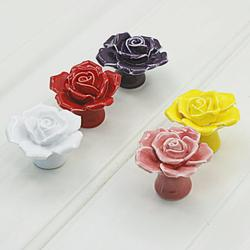 Windfall Rose Flower Ceramic Cabinet Wardrobe Drawer Cupboard Pull Knob Furniture Handle Dresser Knob - 1Pc