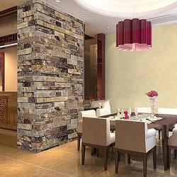 3D Effect Natural Embossed Retro Stack Stone Brick Tile Print Wall Paper Wallpaper HITC