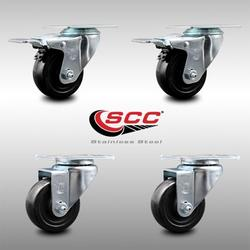 """Stainless Steel Hard Rubber Swivel Top Plate Caster Set of 4 w/3.5"""" x 1.25"""" Black Wheels - Includes 2 Swivel with Total Locking Brakes & 2 Swivel - 1100 lbs Total Capacity - Service Caster Brand"""