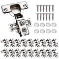 """KONIGEEHRE 20 Pack Soft Close Cabinet Door Hinges for 1/2"""" Partial Overlay Cupboard, 100 Degree Opening Angel, Stainless Concealed Kitchen Cabinet Hinges With Mounting Screws and Manual"""
