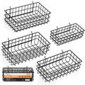 """INCLY 4 Pack Pegboard Baskets Bins Set, 4 Size Black Metal Shelves Hooks to 1/4"""" or 3/16"""" Hole Peg Board - Organize Tools, Workbench, Accessories, Garage Storage Wall Mount Organizer Attachments"""